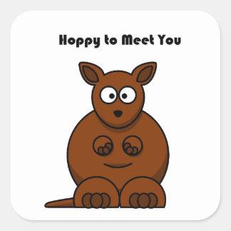 Hoppy to Meet You Kangaroo Cartoon Square Sticker