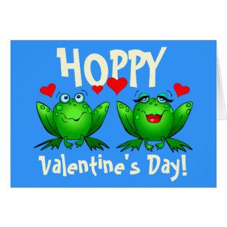 Hoppy Valentines Cartoon Frogs Blank Cards