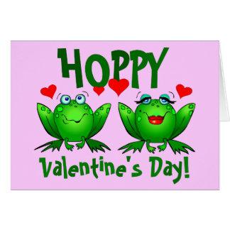 Hoppy Valentines Cartoon Happy Frogs Blank Cards