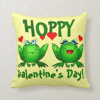 Hoppy Valentines Cute Cartoon Frogs Love Hearts Throw Pillow