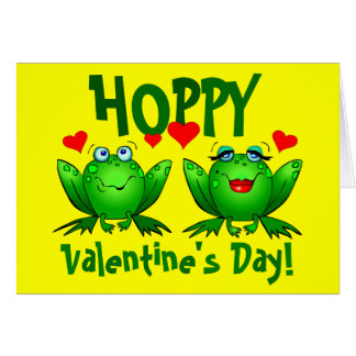 Hoppy Valentines Cute Green Frogs Blank Cards