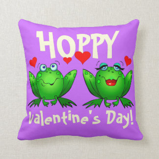 Hoppy Valentines Cute Green Frogs Funny Romantic Pillow