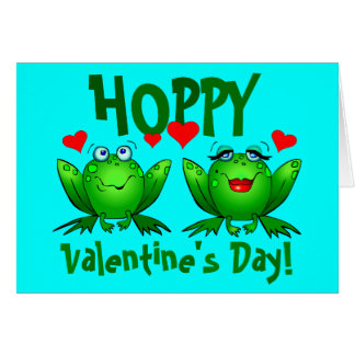 Hoppy Valentines Cute Happy Frogs Blank Cards