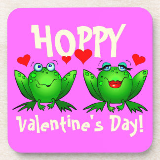 Hoppy Valentines Day Cute Cartoon Frogs Coasters