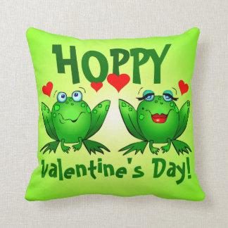 Hoppy Valentines Green Cartoon Frogs Hearts Throw Pillows