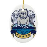 Hops and Barley Owl Celtic Knotwork Ceramic Ornament