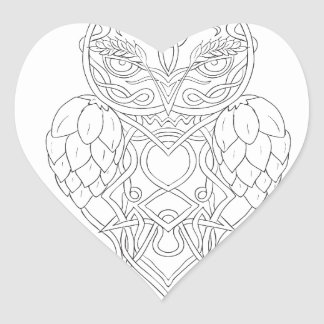 Hops and Barley Owl Celtic Knotwork Heart Sticker