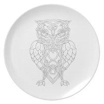 Hops and Barley Owl Celtic Knotwork Melamine Plate