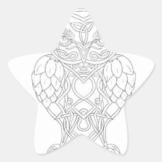Hops and Barley Owl Celtic Knotwork Star Sticker