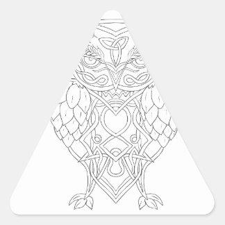 Hops and Barley Owl Celtic Knotwork Triangle Sticker