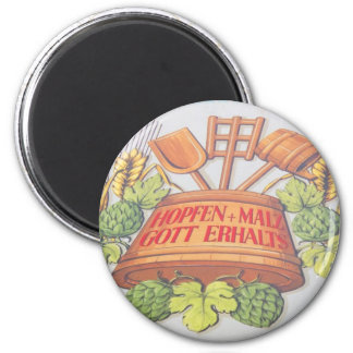 Hops and Malt 2 Inch Round Magnet