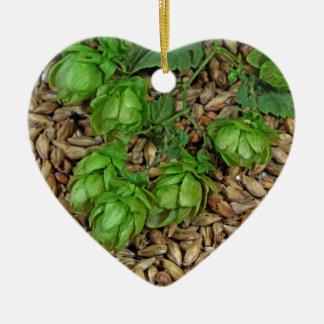 Hops and Malt Double-Sided Heart Ceramic Christmas Ornament