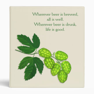Hops Botanical Art Homebrew Recipe Book 3 Ring Binder