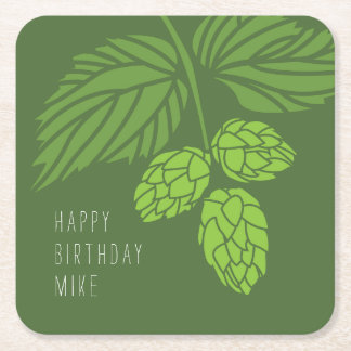 Hops Coasters, Beer Tasting Party, Birthday Square Paper Coaster
