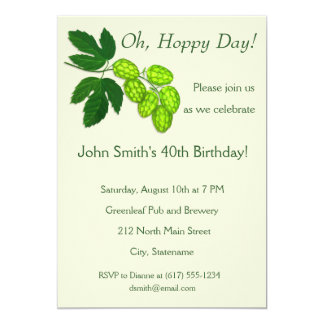 Hops Flowers Botanical Art Party Invitation