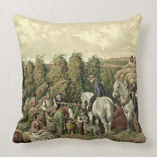 Hops Harvest 1857 Throw Pillow