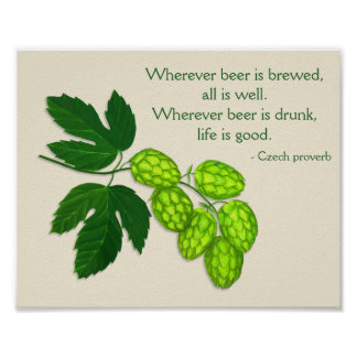 Hops Plant Beer Brewing Print with