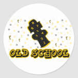 Hopscotch de la escuela vieja pegatina redonda