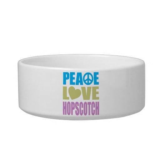 Hopscotch del amor de la paz tazón para gato
