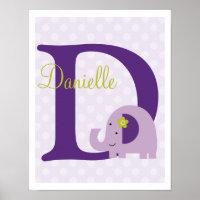 Hopscotch Elephant Purple Polka Dots Art Print