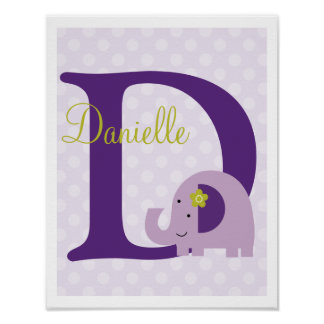 Hopscotch Elephant Purple Polka Dots Art Print