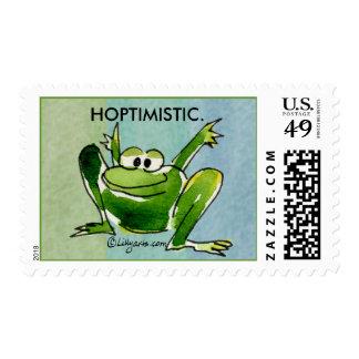 Hoptimistic Cartoon Frog -6 Postage