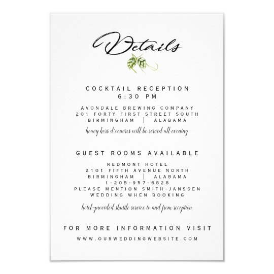 Wedding Invitations Details: Hopvine Wedding Invitation Reception Details Card