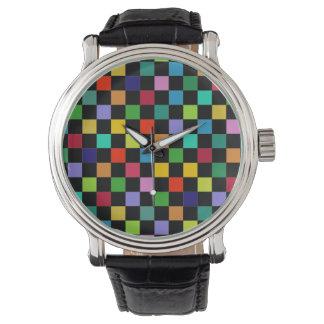hora a cuadros del modelo del color reloj de mano