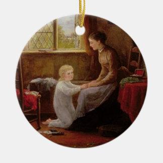 Hora de acostarse 1890 aceite en el panel ornamento de navidad