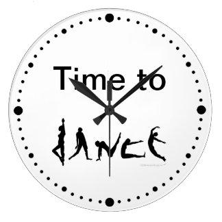 Hora de bailar el reloj de pared blanco de las sil