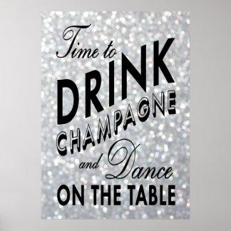 Hora de beber el poster de plata de Champán