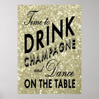 Hora de beber el poster del oro de Champán