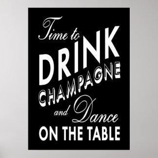 Hora de beber el poster negro de Champán