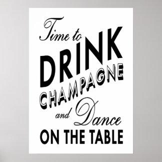 Hora de beber el poster negro y blanco de Champán