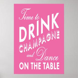 Hora de beber el poster rosado de Champán