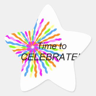 Hora de celebrar pegatina en forma de estrella