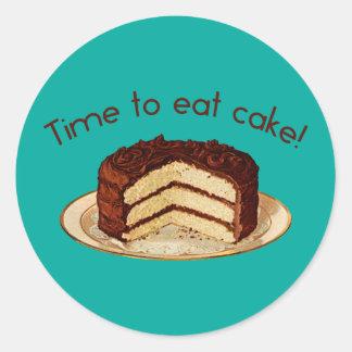 Hora de comer la torta pegatina redonda