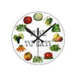 ¡Hora de comer sus frutas y verduras! Reloj