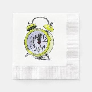 Hora de despertar el dibujo amarillo del despertad servilleta desechable