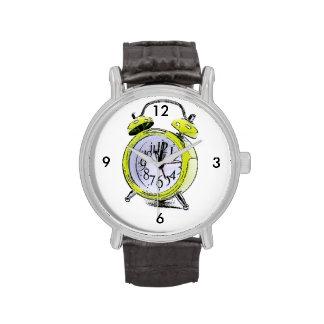 Hora de despertar el dibujo amarillo del relojes de mano