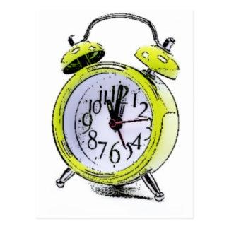Hora de despertar el dibujo amarillo del tarjeta postal