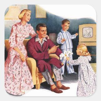Hora de familia original retra del kitsch TV del Pegatina Cuadrada