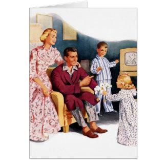 Hora de familia original retra del kitsch TV del v Tarjeta De Felicitación