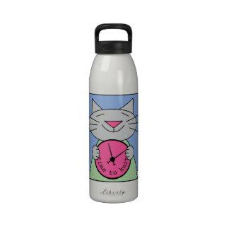 Hora de hacer punto gato del dibujo animado botella de agua