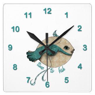 Hora de ir a pescar reloj de pared