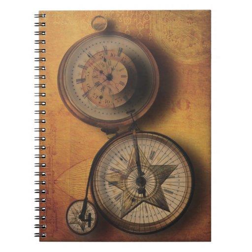 Hora de ir reloj de Steampunk en la bicicleta del  Libro De Apuntes Con Espiral