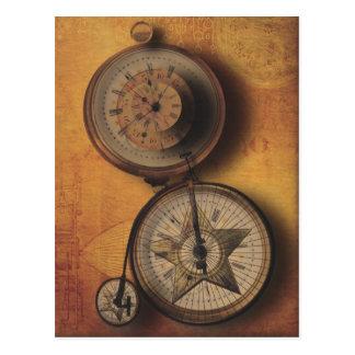 Hora de ir reloj de Steampunk en la bicicleta del Postales