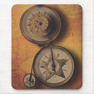 Hora de ir reloj de Steampunk en la bicicleta del Tapete De Ratón