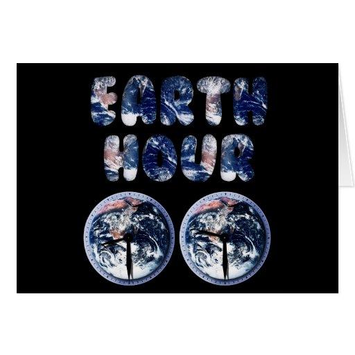 Hora de la tierra (texto W/Clocks [2] de la tierra Felicitaciones