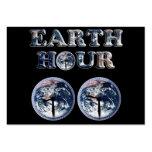 Hora de la tierra - texto w/Clocks 830-930 de la Tarjetas De Visita Grandes